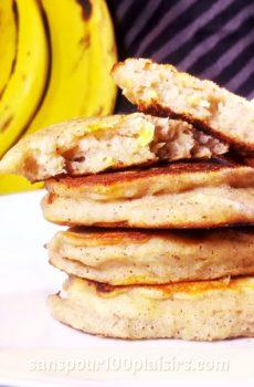 pancakes à la banane, sans sucre ajouté, sanspour100plaisirs.com