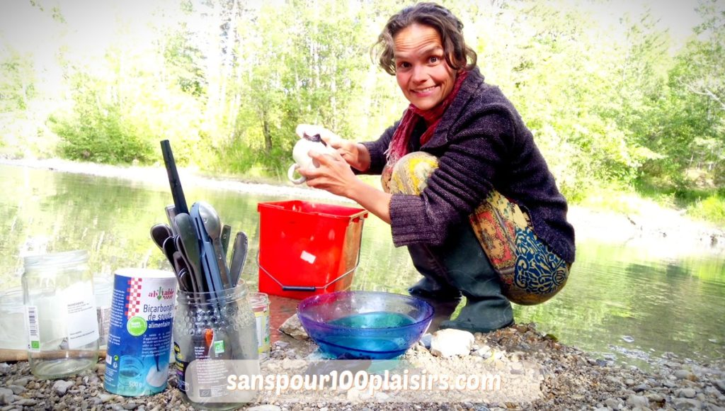 Astuce en camping au naturel, faire sa vaisselle dans la rivière, sanspour100plaisirs.com